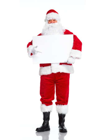 Kerstman met poster. Stockfoto