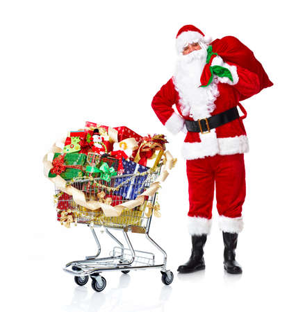st claus: Santa Claus with gifts and shopping trolley.