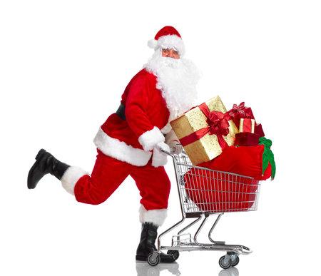 Santa Claus met geschenken en winkelwagentje.