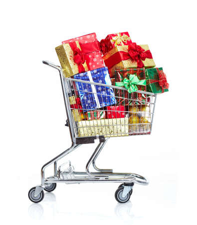 supermarket: Christmas shopping cart with gifts.