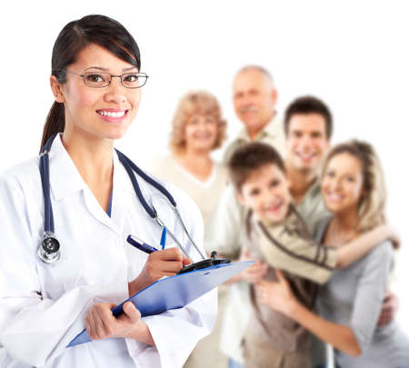 family health: Family doctor woman.