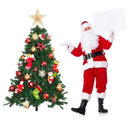 weihnachtsmann lustig: Santa Claus und Weihnachtsbaum. Lizenzfreie Bilder