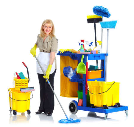 cleaning services: Cleaner maid woman. Stock Photo