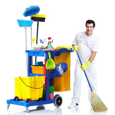 maid cleaning: Cleaner man.