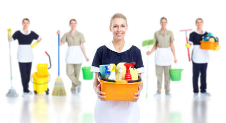 Domestic cleaning: Cleaner maid woman. Stock Photo