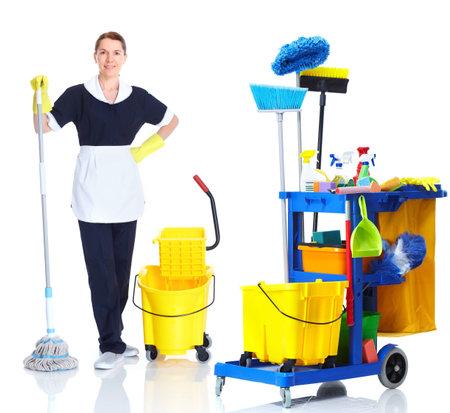 huis opruimen: Cleaner meid vrouw wassen vloer. Stockfoto