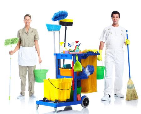 personal de limpieza: Limpiador de hombre y mujer. Foto de archivo