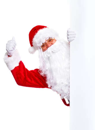 christmas costume: Santa Claus with poster.