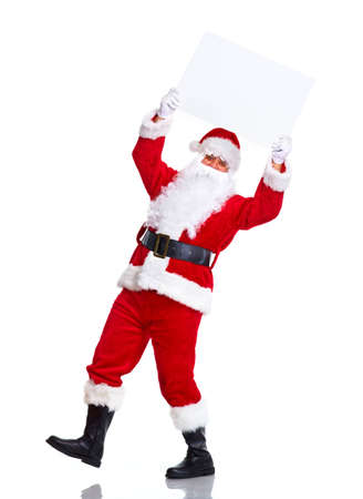 st  nick: Santa Claus with poster.