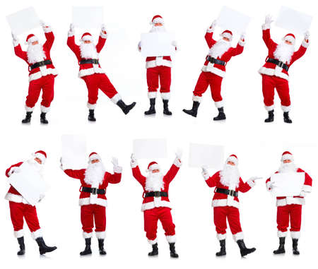 Group of Christmas Santa Claus with poster. Stock Photo
