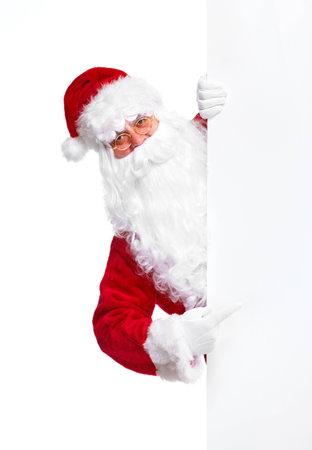 weihnachtsmann lustig: Weihnachtsmann mit Plakat.