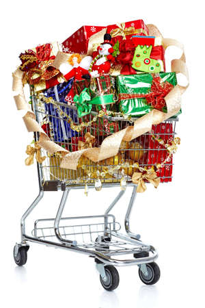 shopping carts: Christmas shopping cart with gifts.
