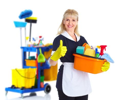 limpiadores: La mujer de limpieza limpia.