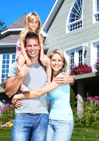 real estate house: Happy family.