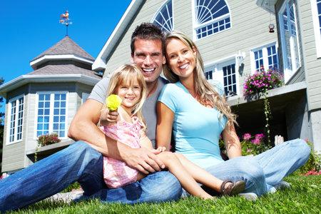 home insurance: Happy family.