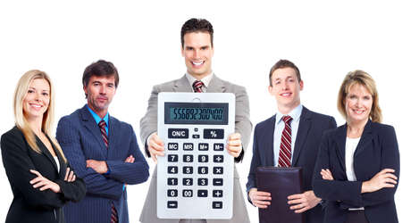 Group of business people with calculator. photo