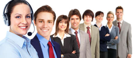 contact center: Call customer center operator woman. Stock Photo