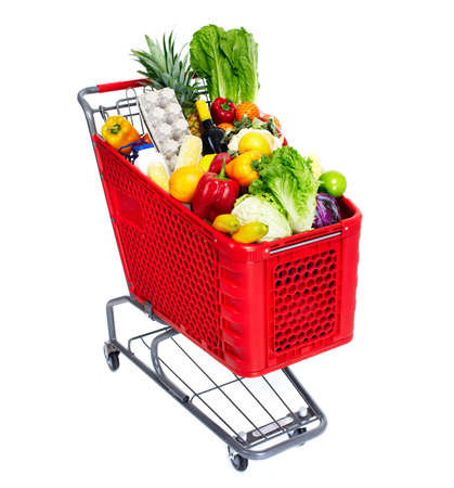 grocery baskets: Shopping cart.