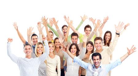 foule mains: Un groupe de gens heureux.