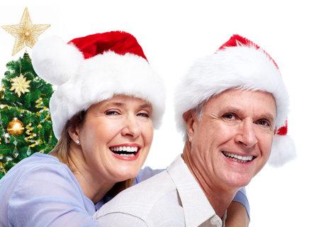 Happy senior santa couple. photo