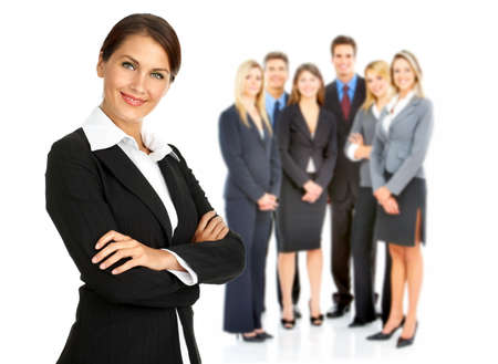reuniones empresariales: Mujer de negocios y un grupo de personas.