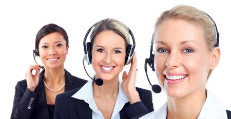 Call customer center operator. photo