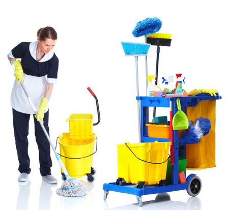 Cleaner maid woman washing floor.