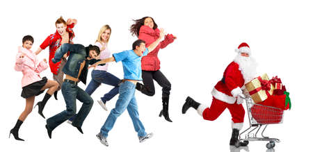 sales person: Christmas shopping people. Stock Photo