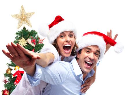 Happy Christmas couple. photo