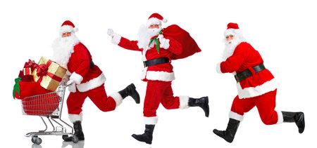 st claus: Santa Claus with a shopping cart..