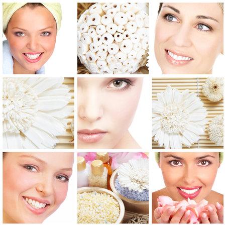 health collage: Beautiful woman. Stock Photo