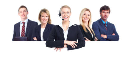 customer services: Group of business people with banner.