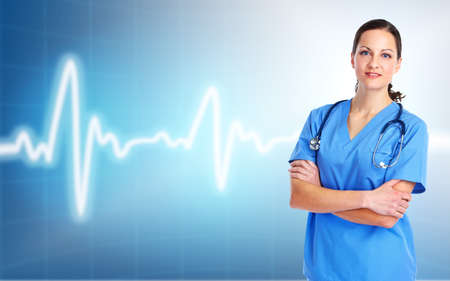 cardiologist: Medical doctor woman. Over cardio background. Stock Photo