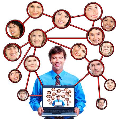 Homme d'affaires avec un ordinateur portable. Banque d'images - 11287602