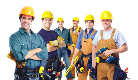 electrician tools: Group of professional industrial workers.