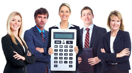 the bookkeeper: Group of business people with calculator.