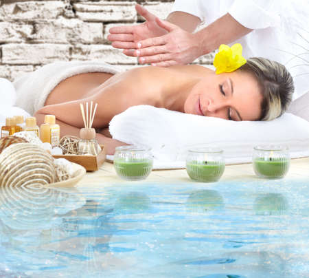 spa woman: Spa massage.