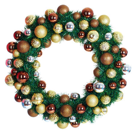 christmas decorations with white background: Christmas wreath. Stock Photo