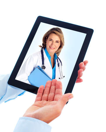 Tablet computer and doctor woman. photo