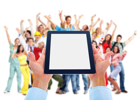 portable information device: Tablet computer and group of happy people.