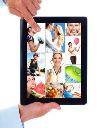 pareja saludable: Tablet PC. De la salud. Las personas de estilo de vida. Foto de archivo