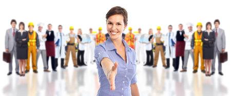 bienvenidos: Grupo de trabajadores de la industria.