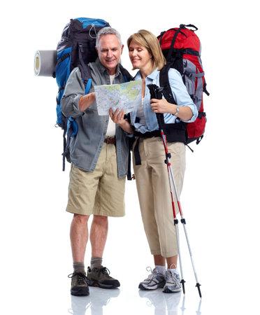 観光。年配のカップル。