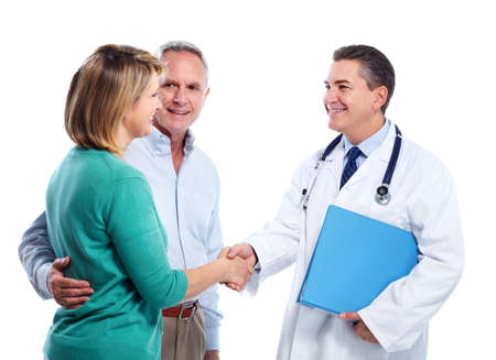 health issue: Doctor and patient senior couple. Stock Photo