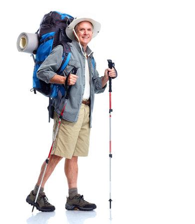 walking pole: Tourist. Senior man.