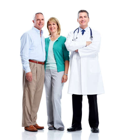 family medicine: Doctor and patient senior couple. Stock Photo