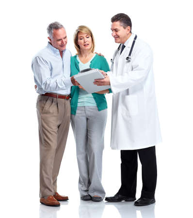Doctor and patient senior couple. Stock Photo