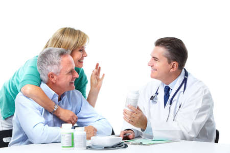 healthcare worker: Doctor and patient senior couple. Stock Photo