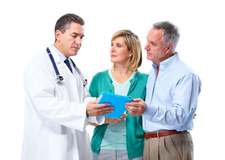 patient and doctor: Doctor and patient senior couple. Stock Photo