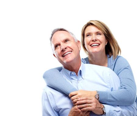 happy couple white background: Senior couple in love. Stock Photo